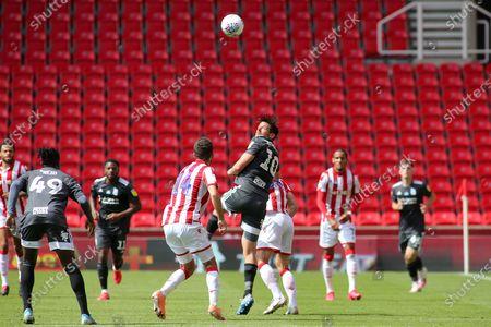 Lukas Jutkiewicz of Birmingham City (10) flicks on the ball during the EFL Sky Bet Championship match between Stoke City and Birmingham City at the Bet365 Stadium, Stoke-on-Trent