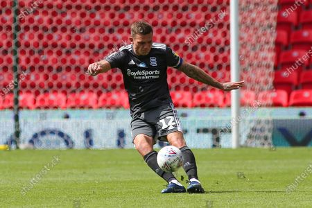 Harlee Dean of Birmingham City (12) launches the ball up field during the EFL Sky Bet Championship match between Stoke City and Birmingham City at the Bet365 Stadium, Stoke-on-Trent