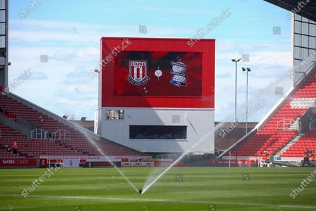 Pre match scoreboard during the EFL Sky Bet Championship match between Stoke City and Birmingham City at the Bet365 Stadium, Stoke-on-Trent