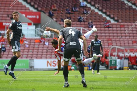 Sam Vokes of Stoke City (9) attempts an acrobatic overhead shot during the EFL Sky Bet Championship match between Stoke City and Birmingham City at the Bet365 Stadium, Stoke-on-Trent