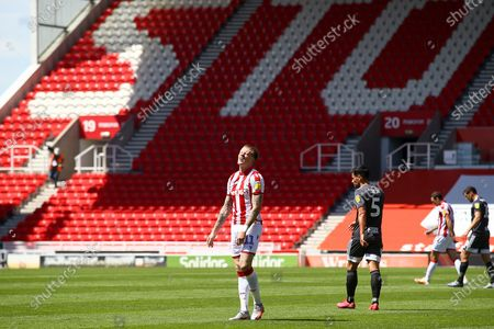 James McClean of Stoke City (11) cannot believe his shot went wide during the EFL Sky Bet Championship match between Stoke City and Birmingham City at the Bet365 Stadium, Stoke-on-Trent