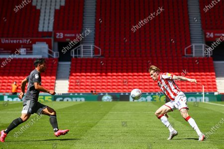 James McClean of Stoke City (11) during the EFL Sky Bet Championship match between Stoke City and Birmingham City at the Bet365 Stadium, Stoke-on-Trent