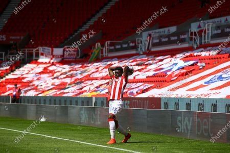 Bruno Martins Indi of Stoke City (15) launches a long throw into the box during the EFL Sky Bet Championship match between Stoke City and Birmingham City at the Bet365 Stadium, Stoke-on-Trent