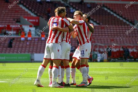 Sam Clucas of Stoke City (22) celebrates after scoring during the EFL Sky Bet Championship match between Stoke City and Birmingham City at the Bet365 Stadium, Stoke-on-Trent