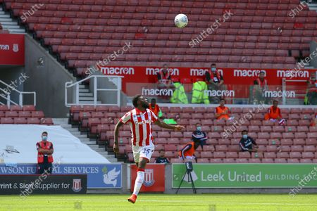 Bruno Martins Indi of Stoke City (15) keeps his eyes on the ball during the EFL Sky Bet Championship match between Stoke City and Birmingham City at the Bet365 Stadium, Stoke-on-Trent