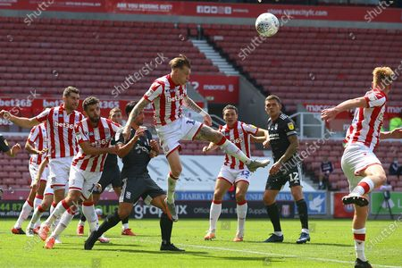 James McClean of Stoke City (11) defending a corner during the EFL Sky Bet Championship match between Stoke City and Birmingham City at the Bet365 Stadium, Stoke-on-Trent