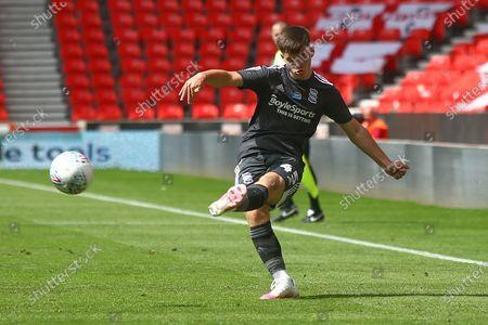 Ryan Burke of Birmingham City (45) crossing the ball during the EFL Sky Bet Championship match between Stoke City and Birmingham City at the Bet365 Stadium, Stoke-on-Trent