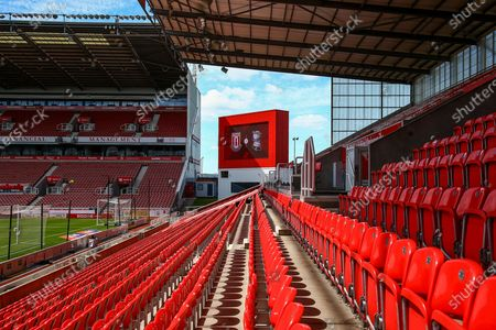 Empty seats during covid project restart during the EFL Sky Bet Championship match between Stoke City and Birmingham City at the Bet365 Stadium, Stoke-on-Trent