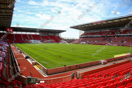 Empty seating during the project restart after covid 19  during the EFL Sky Bet Championship match between Stoke City and Birmingham City at the Bet365 Stadium, Stoke-on-Trent