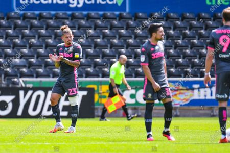 Leeds United midfielder Kalvin Phillips (23) reacts during the EFL Sky Bet Championship match between Swansea City and Leeds United at the Liberty Stadium, Swansea