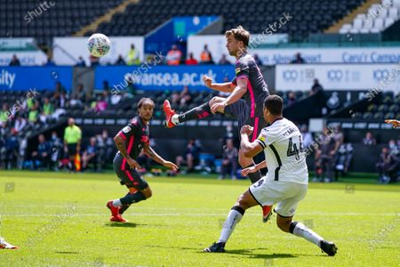 Leeds United forward Patrick Bamford (9) in action during the EFL Sky Bet Championship match between Swansea City and Leeds United at the Liberty Stadium, Swansea