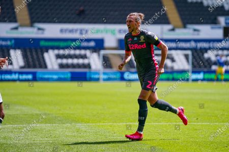 Leeds United defender Luke Ayling (2) reacts during the EFL Sky Bet Championship match between Swansea City and Leeds United at the Liberty Stadium, Swansea