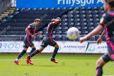 GOAL 0-1. Leeds United midfielder Pablo Hernandez (19) scores a goal and celebrates to make the score 0-1 during the EFL Sky Bet Championship match between Swansea City and Leeds United at the Liberty Stadium, Swansea
