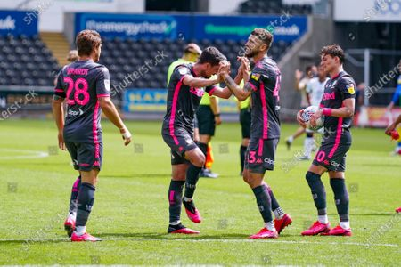 Leeds United midfielder Pablo Hernandez (19) reacts with team mates during the EFL Sky Bet Championship match between Swansea City and Leeds United at the Liberty Stadium, Swansea
