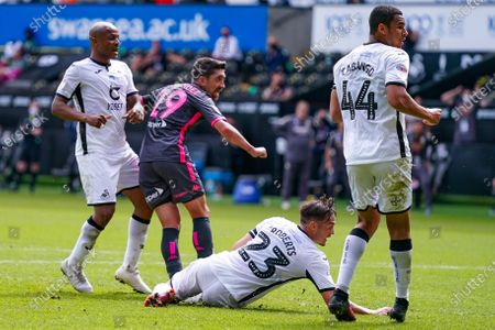 GOAL 0-1. Leeds United midfielder Pablo Hernandez (19) scores a goal to make the score 0-1 during the EFL Sky Bet Championship match between Swansea City and Leeds United at the Liberty Stadium, Swansea