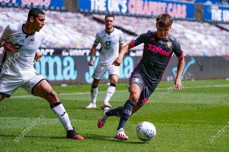 Leeds United midfielder Jamie Shackleton (46) in action during the EFL Sky Bet Championship match between Swansea City and Leeds United at the Liberty Stadium, Swansea