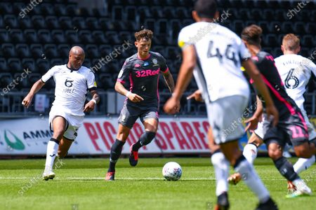 Leeds United defender Ben White (5) during the EFL Sky Bet Championship match between Swansea City and Leeds United at the Liberty Stadium, Swansea