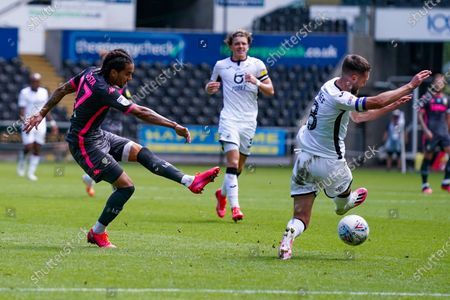 Leeds United forward Helder Costa (17) shoots during the EFL Sky Bet Championship match between Swansea City and Leeds United at the Liberty Stadium, Swansea