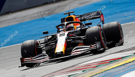 Red Bull driver Max Verstappen of the Netherlands steers his car during the Styrian Formula One Grand Prix race at the Red Bull Ring racetrack in Spielberg, Austria, Sunday, July 12, 2020. (Leonhard Foeger/Pool via AP)