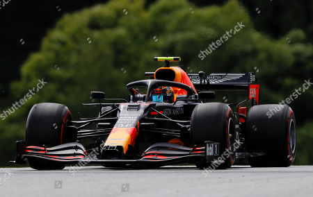 Red Bull driver Alexander Albon of Thailand steers his car during the Styrian Formula One Grand Prix race at the Red Bull Ring racetrack in Spielberg, Austria, Sunday, July 12, 2020. (Leonhard Foeger/Pool via AP)