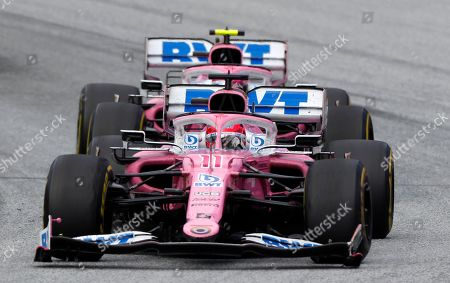 Racing Point driver Sergio Perez of Mexico steers his car during the Styrian Formula One Grand Prix race at the Red Bull Ring racetrack in Spielberg, Austria, Sunday, July 12, 2020. (Leonhard Foeger/Pool via AP)