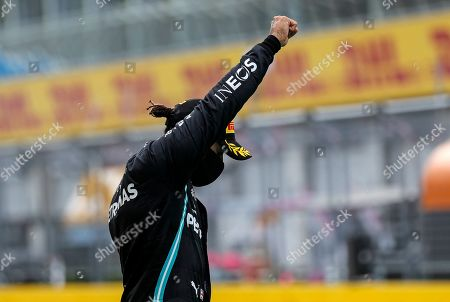 Mercedes driver Lewis Hamilton of Britain reacts after winning the Styrian Formula One Grand Prix race at the Red Bull Ring racetrack in Spielberg, Austria, Sunday, July 12, 2020. (Leonhard Foeger/Pool via AP)