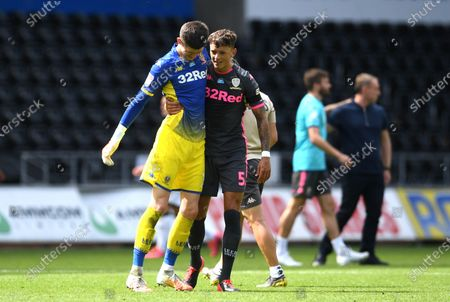 Illan Meslier and Ben White of Leeds United celebrate at the end of the game.