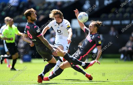 Conor Gallagher of Swansea City tries a shot at goal.