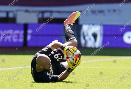 Aston Villa goalkeeper Pepe Reina in action during the English Premier League soccer match between Aston Villa and Crystal Palace in Birmingham, Britain, 12 July 2020.