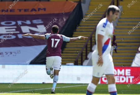 Trezeguet (L) of Aston Villa celebrates after scoring the 2-0 lead during the English Premier League soccer match between Aston Villa and Crystal Palace in Birmingham, Britain, 12 July 2020.