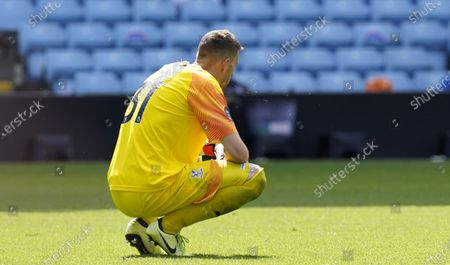 Crystal Palace's goalkeeper Vicente Guaita reacts during the English Premier League soccer match between Aston Villa and Crystal Palace in Birmingham, Britain, 12 July 2020.