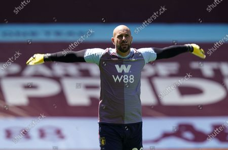 Aston Villa goalkeeper Pepe Reina warms up ahead of the English Premier League soccer match between Aston Villa and Crystal Palace in Birmingham, Britain, 12 July 2020.