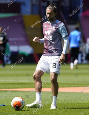 Henri Lansbury of Aston Villa warms up ahead of the English Premier League soccer match between Aston Villa and Crystal Palace in Birmingham, Britain, 12 July 2020.