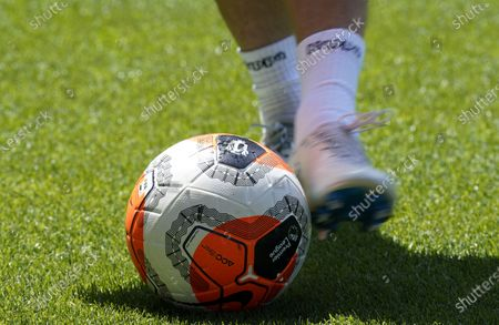 An official Nike match ball on display ahead of the English Premier League soccer match between Aston Villa and Crystal Palace in Birmingham, Britain, 12 July 2020.