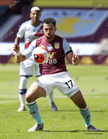 Trezeguet of Aston Villa in action during the English Premier League soccer match between Aston Villa and Crystal Palace in Birmingham, Britain, 12 July 2020.