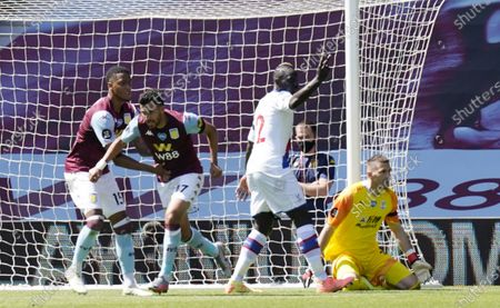 Trezeguet (2-L) of Aston Villa celebrates after scoring the 1-0 lead during the English Premier League soccer match between Aston Villa and Crystal Palace in Birmingham, Britain, 12 July 2020.