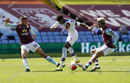 Wilfried Zaha (C) of Crystal Palace in action during the English Premier League soccer match between Aston Villa and Crystal Palace in Birmingham, Britain, 12 July 2020.