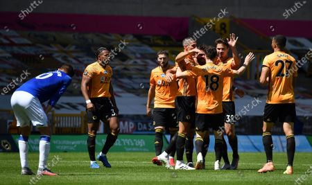 「Wolverhampton Wanderers' Diogo Jota (3-R) celebrates with teammates after scoring the 3-0 lead during the English Premier League soccer match between Wolverhampton Wanderers and Everton FC in Wolverhampton, Britain, 12 July 2020.」のストック写真