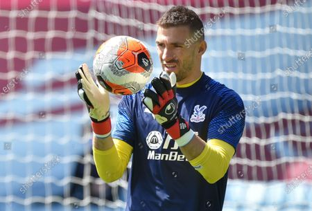 Crystal Palace's goalkeeper Vicente Guaita warms up ahead of the English Premier League soccer match between Aston Villa and Crystal Palace in Birmingham, Britain, 12 July 2020.