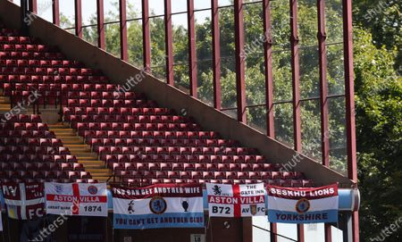 General view of empty stands during the English Premier League soccer match between Aston Villa and Crystal Palace in Birmingham, Britain, 12 July 2020.