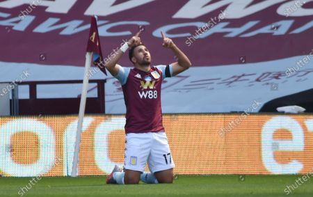 Trezeguet of Aston Villa celebrates after scoring the 2-0 lead during the English Premier League soccer match between Aston Villa and Crystal Palace in Birmingham, Britain, 12 July 2020.