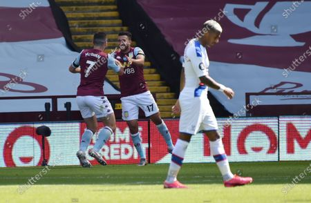 Trezeguet (C) of Aston Villa celebrates after scoring the 2-0 lead during the English Premier League soccer match between Aston Villa and Crystal Palace in Birmingham, Britain, 12 July 2020.