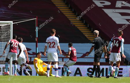 Trezeguet (C) of Aston Villa scores the 2-0 lead during the English Premier League soccer match between Aston Villa and Crystal Palace in Birmingham, Britain, 12 July 2020.