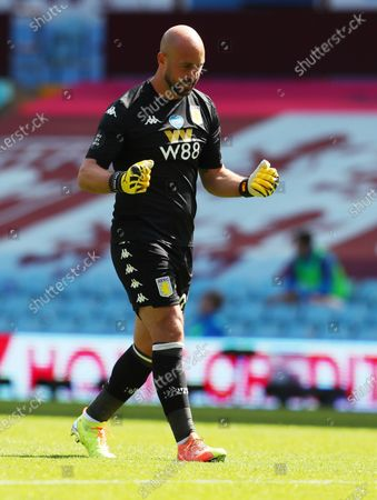 Aston Villa goalkeeper Pepe Reina reacts during the English Premier League soccer match between Aston Villa and Crystal Palace in Birmingham, Britain, 12 July 2020.