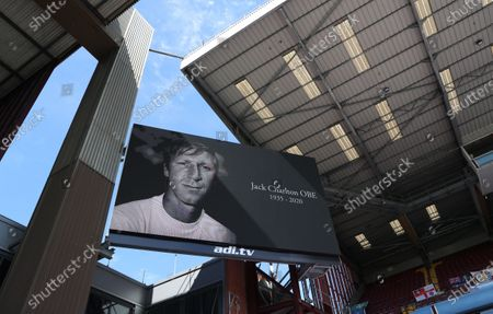 A photograph of former English international Jack Charlton is displayed on a huge screen ahead of the English Premier League soccer match between Aston Villa and Crystal Palace in Birmingham, Britain, 12 July 2020.