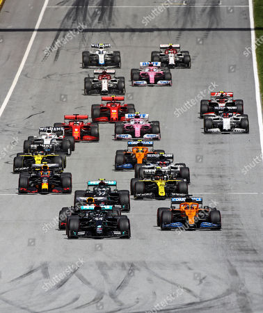Mercedes driver Lewis Hamilton of Britain leads at the start of the Styrian Formula One Grand Prix race at the Red Bull Ring racetrack in Spielberg, Austria, Sunday, July 12, 2020. (Mark Thompson/Pool via AP)