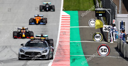 The safety car drives on the track during the Styrian Formula One Grand Prix race at the Red Bull Ring racetrack in Spielberg, Austria, Sunday, July 12, 2020. (Mark Thompson/Pool via AP)