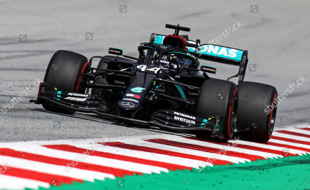 Mercedes driver Lewis Hamilton of Britain steers his car during the Styrian Formula One Grand Prix race at the Red Bull Ring racetrack in Spielberg, Austria, Sunday, July 12, 2020. (Mark Thompson/Pool via AP)