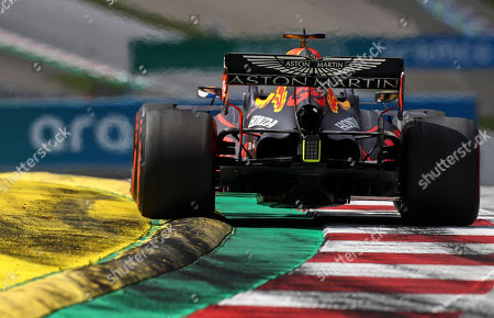 Red Bull driver Max Verstappen of the Netherlands steers his car during the Styrian Formula One Grand Prix race at the Red Bull Ring racetrack in Spielberg, Austria, Sunday, July 12, 2020. (Mark Thompson/Pool via AP)