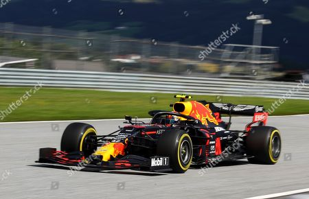 Red Bull driver Alexander Albon of Thailand steers his car during the Styrian Formula One Grand Prix race at the Red Bull Ring racetrack in Spielberg, Austria, Sunday, July 12, 2020. (Mark Thompson/Pool via AP)